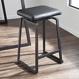 Geo Industrial Upholstered Counter Stool in Black Metal and Black Faux Leather  - Set of 2, Black, rollover