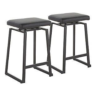 Geo Industrial Upholstered Counter Stool in Black Metal and Black Faux Leather  - Set of 2, Black, large