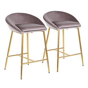 """Matisse Glam 26"""" Counter Stool with Gold Frame and Silver Velvet  - Set of 2, Gold/Silver, large"""