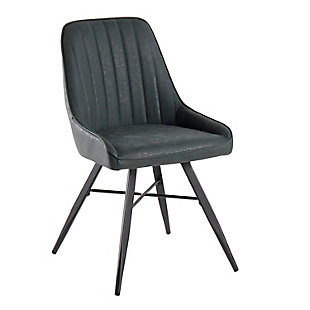 Cavalier Contemporary Chair with Black Metal and Green Faux Leather, , large
