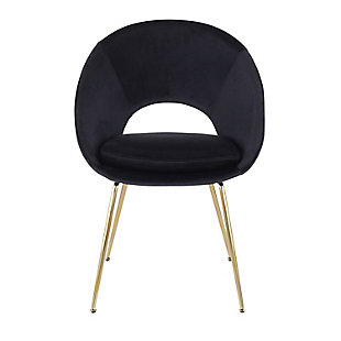 Metro Contemporary Chair in Gold Metal and Black Velvet  - Set of 2, , large