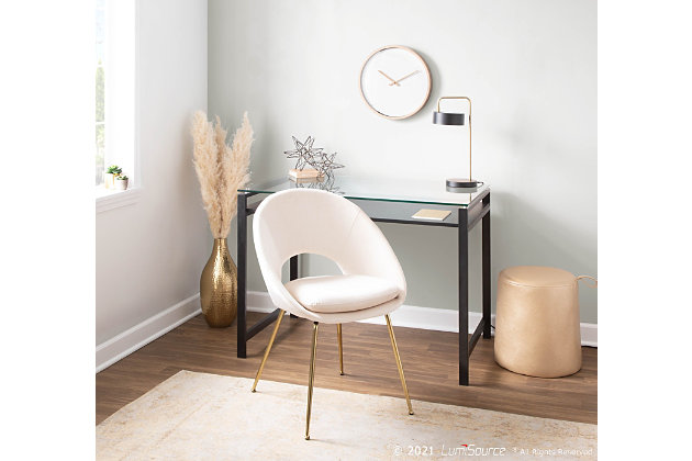 Metro Contemporary Chair in Gold Metal and Cream Velvet  - Set of 2, Gold/Cream, large