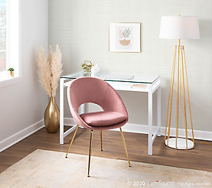Metro Contemporary Chair in Gold Metal and Blush Velvet  - Set of 2, Gold/Blush, large