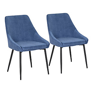 Diana Contemporary Chair in Black Metal and Blue Velvet  - Set of 2, Black/Blue, large
