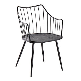 Winston Farmhouse Chair in Black Metal and Black Wood, Black, large
