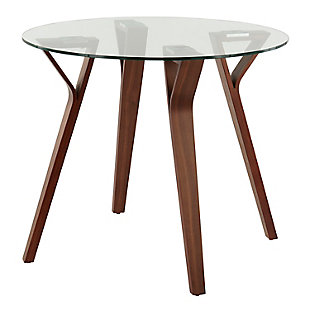 Folia Mid-Century Modern Round Dinette Table in Walnut Wood and Clear Glass, , large