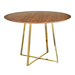 Cosmo Contemporary/Glam Dining Table in Gold Metal and Walnut Wood, Gold/Walnut, large