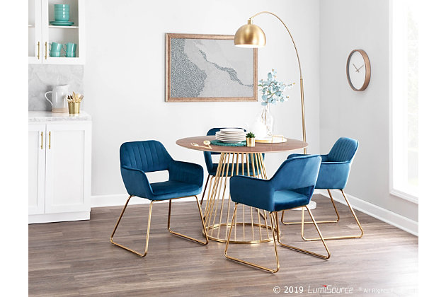 Canary Contemporary/Glam Dining Table in Gold Metal and Walnut Top, Gold/Walnut, large
