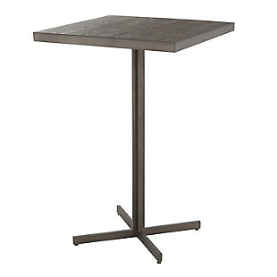 Fuji Industrial Bar Table in Antique Metal and Espresso Bamboo, , large