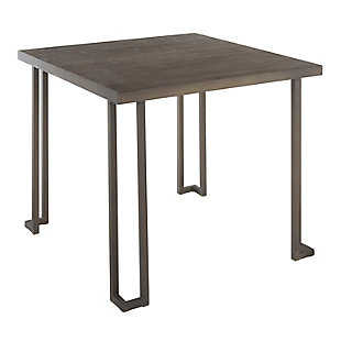 Roman Industrial Dinette Table in Antique Metal and Espresso Bamboo, , large