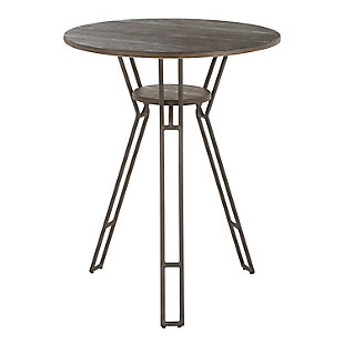 Folia Industrial Counter Table in Antique Metal and Espresso Bamboo, , large