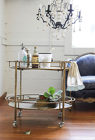 Creative Co-Op 2-Tier Metal Bar Cart with Locking Caster Wheels, , rollover