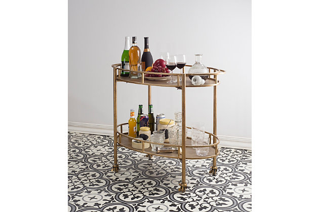 Creative Co-Op 2-Tier Metal Bar Cart with Locking Caster Wheels, , large