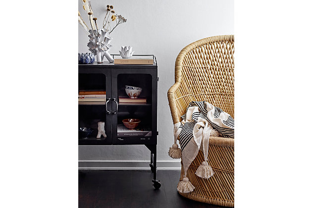 Creative Co-Op Metal Cabinet with Locking Caster Wheels and Glass Doors, Black, large
