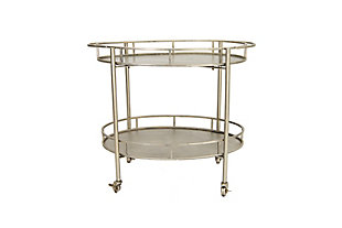 Creative Co-Op 2-Tier Metal Bar Cart with Locking Caster Wheels, Silver, large