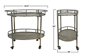 Creative Co-Op 2-Tier Metal Bar Cart with Locking Caster Wheels, Black, large