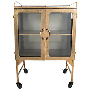 Creative Co-Op Metal Cabinet with Locking Caster Wheels and Glass Doors, Gold, large
