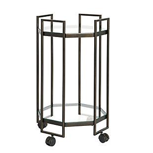 Creative Co-Op Octagon Black Metal Bar cart, , large