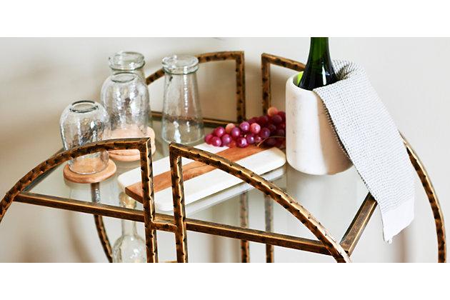 Creative Co-Op Modern Hammered Brass Round Bar cart, , large