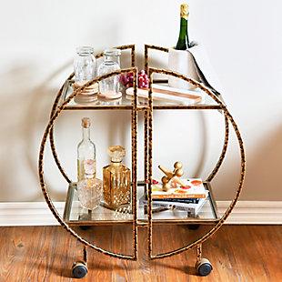 Creative Co-Op Modern Hammered Brass Round Bar cart, , rollover