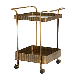 Creative Co-Op Ribbed Square Trolley or Bar Cart, , large