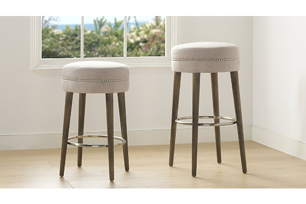 """Jennifer Taylor Home Vesper 30"""" Round Backless Bar Stool , Country Gray Linen, Country Gray, large"""