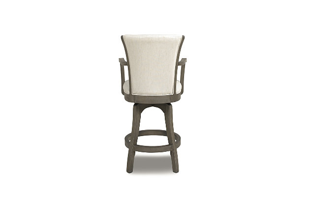 """Jennifer Taylor Home Williams 27"""" Swivel Counter Height Bar Stool, Natural White Linen, Natural White, large"""