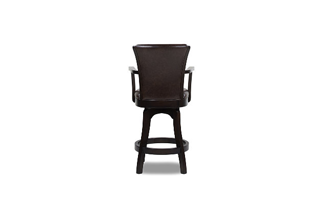 """Jennifer Taylor Home Williams 27"""" Swivel Counter Height Bar Stool, Vintage Brown Faux Leather, Vintage Brown, large"""