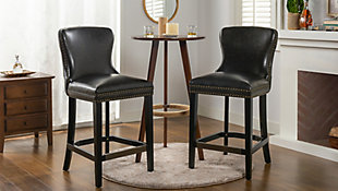 """Jennifer Taylor Home Sonoma 26"""" Leather Counter Height Bar Stool (Set of 2), Vintage Black Brown Faux Leather, Vintage Black Brown, rollover"""