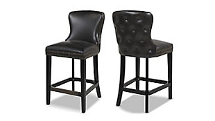 """Jennifer Taylor Home Sonoma 26"""" Leather Counter Height Bar Stool (Set of 2), Vintage Black Brown Faux Leather, Vintage Black Brown, large"""