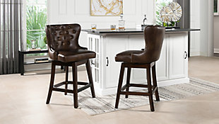 Jennifer Taylor Home Holmes Tufted High-Back 360 Swivel Counter-Height Barstool, Mid Brown Faux Leather, Mid Brown, rollover