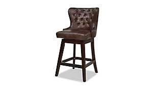 Jennifer Taylor Home Holmes Tufted High-Back 360 Swivel Counter-Height Barstool, Mid Brown Faux Leather, Mid Brown, large