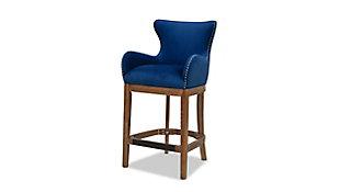 """Jennifer Taylor Home Blake Modern 26"""" Counter-Height Barstool with Armrests, Deep Blue Velvet, Deep Blue, large"""