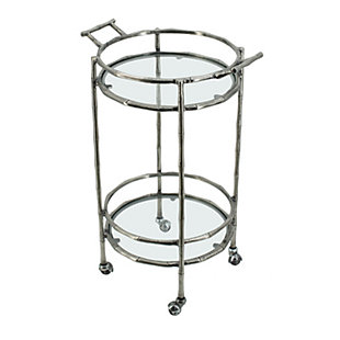 AB HOME Twig 2 Tier Bar Cart, Antique Silver, large