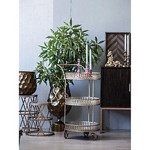 AB HOME Urban Vogue Gold Round Bar Cart, , rollover