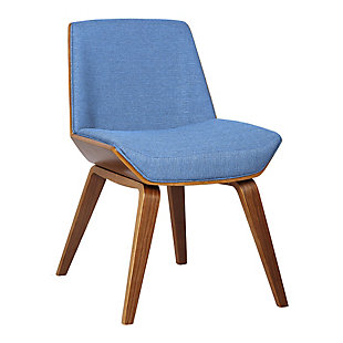 Agi Mid-Century Dining Accent Chair in Blue Fabric with Walnut Wood Finish, Blue, large
