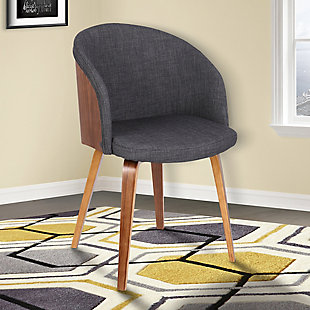 Alpine Mid-Century Dining Accent Chair in Charcoal Fabric with Walnut Wood, , rollover