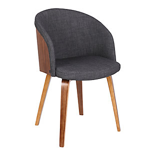 Alpine Mid-Century Dining Accent Chair in Charcoal Fabric with Walnut Wood, , large