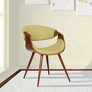 Butterfly Dining Accent Chair in Walnut Finish and Green Fabric, Green, rollover
