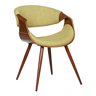 Butterfly Dining Accent Chair in Walnut Finish and Green Fabric, Green, large