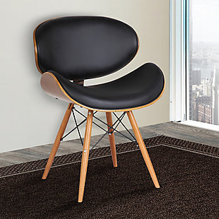 Cassie Dining Accent Chair in Walnut Wood and Black Faux Leather, Black, rollover