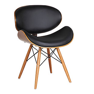 Cassie Dining Accent Chair in Walnut Wood and Black Faux Leather, Black, large