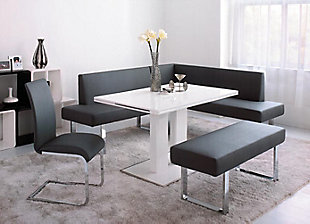 Amanda Dining Accent Chair in Black Faux Leather and Chrome Finish - Set of 2, Black, rollover