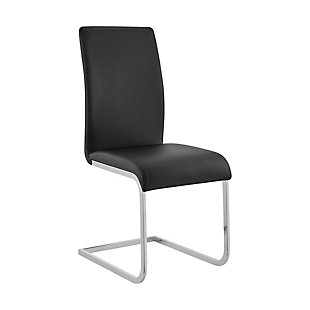 Amanda Dining Accent Chair in Black Faux Leather and Chrome Finish - Set of 2, Black, large