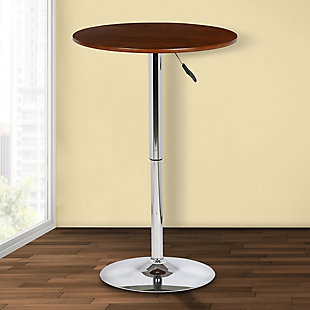 Bentley Adjustable Pub Table in Walnut Wood and Chrome finish, Brown, rollover