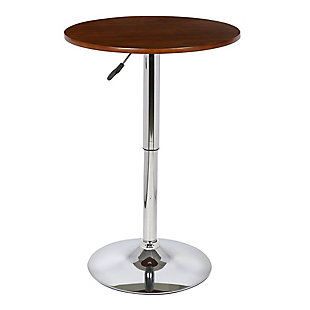 Bentley Adjustable Pub Table in Walnut Wood and Chrome finish, Brown, large
