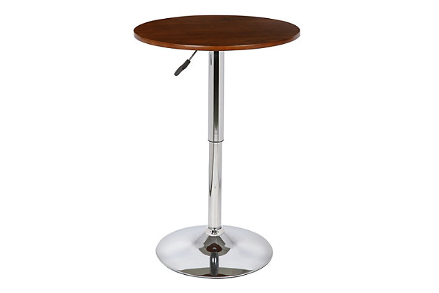 Bentley Adjustable Pub Table in Walnut Wood and Chrome finish, , large