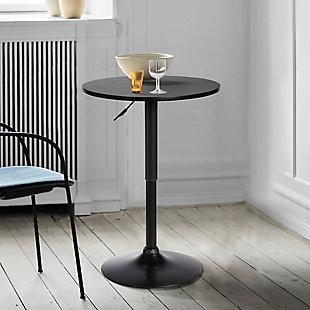 Bentley Adjustable Pub Table in Black Brushed Wood and Black Metal finish, Black, rollover