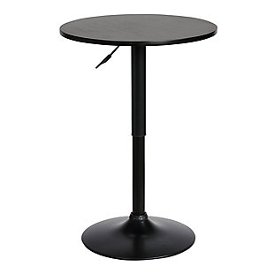 Bentley Adjustable Pub Table in Black Brushed Wood and Black Metal finish, Black, large