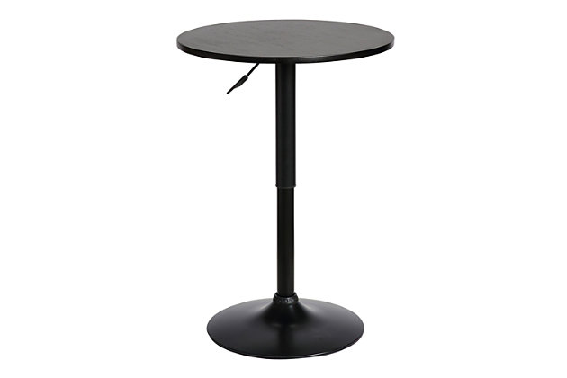 Bentley Adjustable Pub Table in Walnut Wood and Chrome finish, Black, large